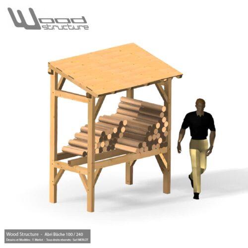 Abri Bûches - 2.40 x 1 m - Charpente bois livrée en kit - Wood Structure - Abri Bûche livré en kit avec fourniture et plan de montage - Fabriqué en France à Richelieu - Indre-et-Loire - Touraine - Région Centre Val de Loire
