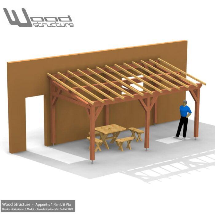 appentis 1 pan l 6 poteaux 6x3 wood structure charpente bois. Black Bedroom Furniture Sets. Home Design Ideas