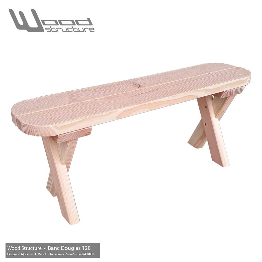 Banc Douglas 120 pour Table et Mobilier bois - Fabriqué en France par la Sarl Merlot & Wood Structure - Richelieu (37) Centre Val de Loire - France