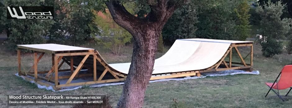 Kit Rampe Skate H100L300 - Module et Rampe Skate et Bowl livré en kit prêt à monter - Wood Structure Skatepark