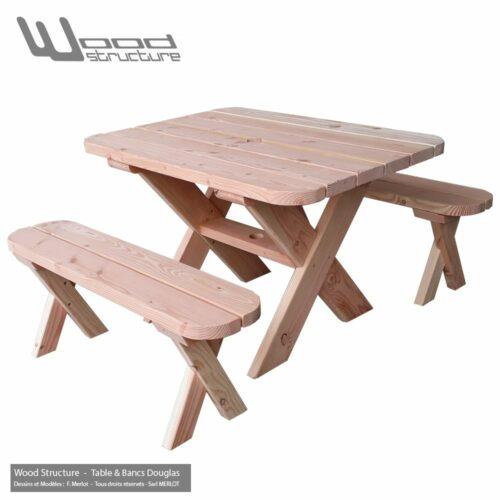 Table et bancs - Table de pique-nique en sapin douglas - Fabriquée en France par la Sarl Merlot & Wood Structure à Richelieu (37) en Région Centre Val de Loire