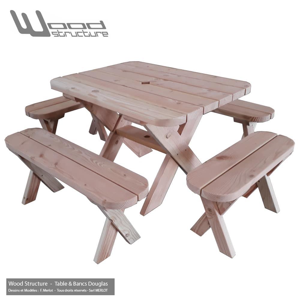 Table de jardin avec banc d coration de maison contemporaine for Table avec banc
