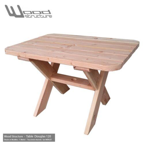 Table bois en sapin Douglas - Salon de Jardin - Mobilier bois - Fabriquée en France par la Sarl Merlot & Wood Structure - Richelieu (37) Centre Val de Loire - France