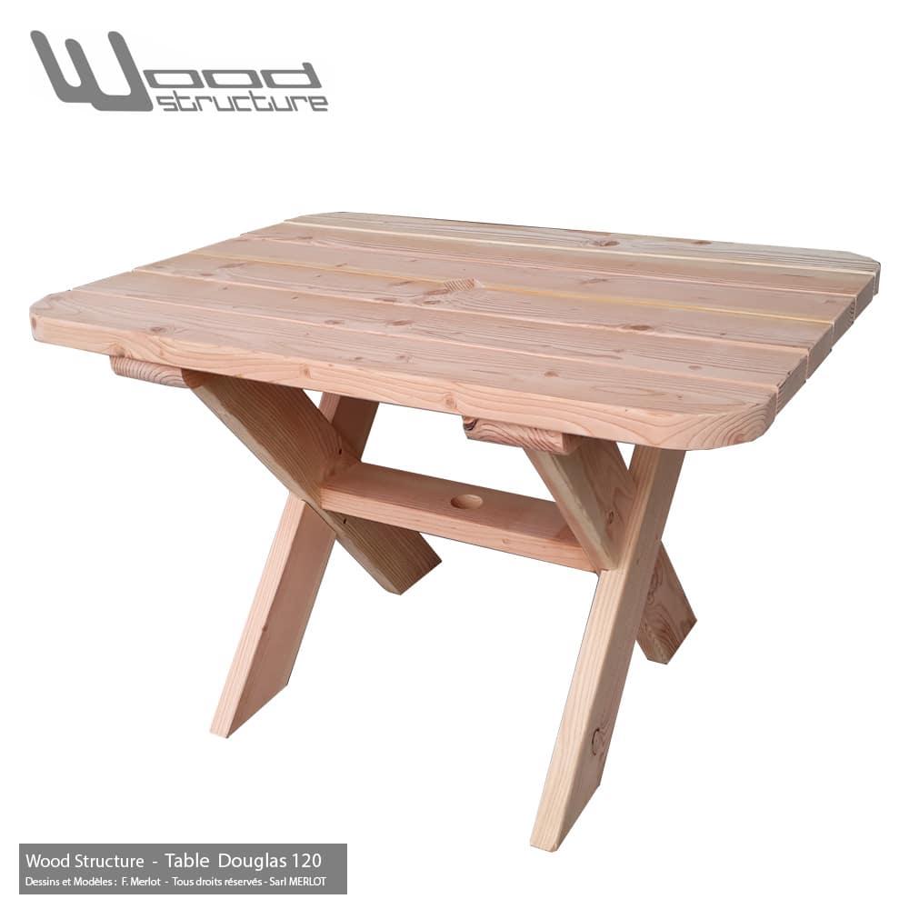 Table douglas wood structure for Table de salon mobilier de france