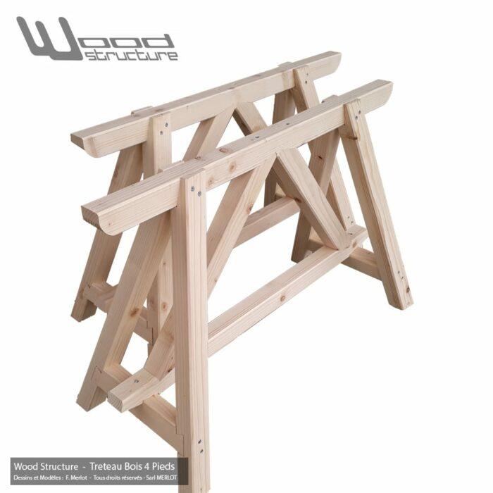 Tréteau Bois 4 Pieds en sapin du nord - Salon de Jardin - Mobilier bois - Fabriquée en France par la Sarl Merlot & Wood Structure - Richelieu - France