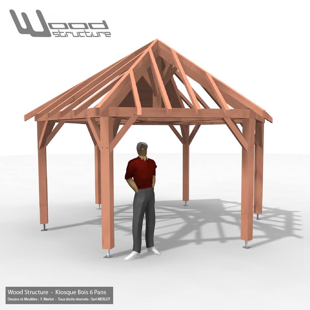 Kiosque Bois 6 Pans - Wood Structure Charpente bois - Kiosque - Pergola - Tonnelle - Aménagement Bois Sur-Mesure - Fabriqué par Sarl Merlot à Richelieu (37) Région Centre Val de Loire - France