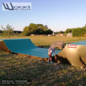 Kit Rampe Skate H100L300 - Mini Rampe skate, roller, bmx, trottinette, prêt à monter - Wood Structure Skatepark