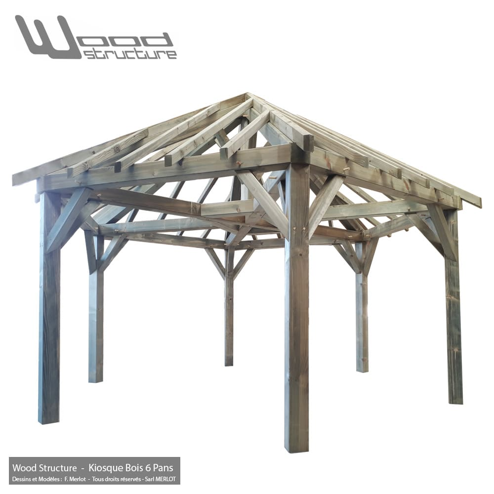 Kiosque bois 6 pans wood structure charpente bois for Structure de bois