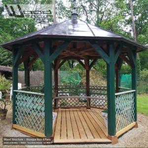 Kiosque bois 8 pans - Wood Structure Charpente bois - Kiosque - Pergola - Tonnelle - Aménagement Bois Sur-Mesure - Fabriqué par Sarl Merlot à Richelieu (37) Région Centre Val de Loire - France