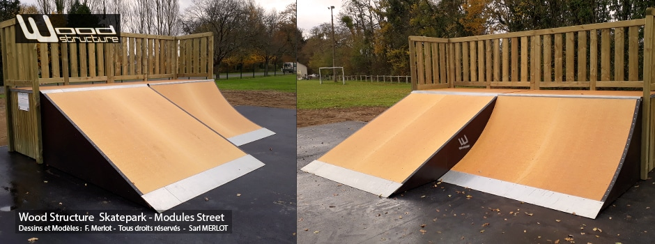 Skatepark de Tuffé (72) - Quarter, Transfert, Funbox, Table Street Marches et rails slide. Module Skate Street fabriqués par la Sarl Merlot à Richelieu (37) et conçus par Wood Structure Skatepark , Fabricant de Skatepark depuis 1990