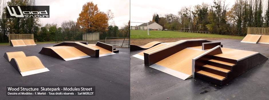Skatepark de Tuffé (72) - Funbox, Table Street Marches et rails slide. Module Skate Street fabriqués par la Sarl Merlot à Richelieu (37) et conçus par Wood Structure Skatepark , Fabricant de Skatepark depuis 1990