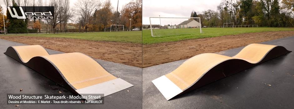 Skatepark de Tuffé (72) - Double vague - Module Skate Street fabriqués par la Sarl Merlot à Richelieu (37) et conçus par Wood Structure Skatepark , Fabricant de Skatepark depuis 1990