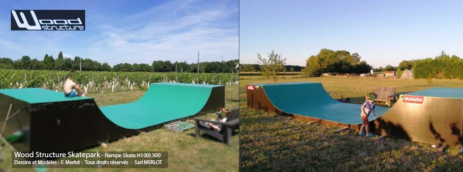 Kit Rampe Skate H100L300 - Mini Rampe Skate et Bowl - Livré en kit prêt à monter - Wood Structure Skatepark