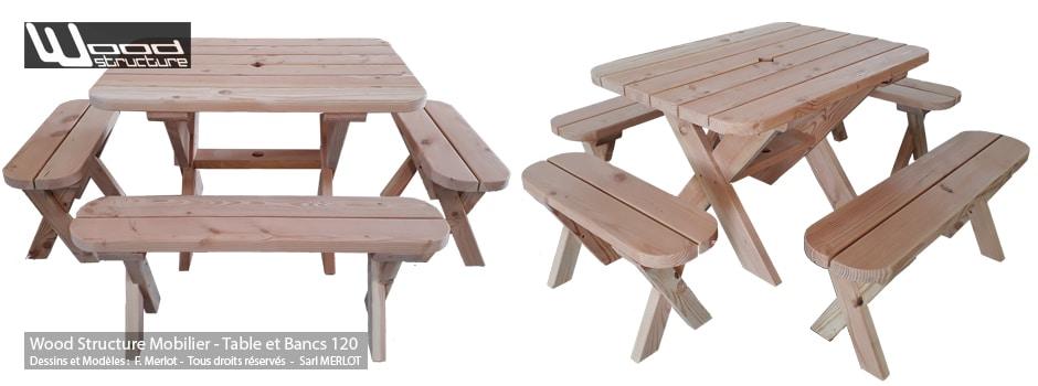 Table avec bancs - Table de pique-nique en sapin douglas - Fabriquée en France par la Sarl Merlot & Wood Structure à Richelieu (37) en Région Centre Val de Loire