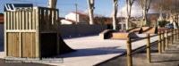 Skatepark de Latour-de-France (66) - Double lanceur Quarter Courbe et plan, Transfert, Funbox, Curb & Rail Slide. Module Skate Street fabriqués par la Sarl Merlot à Richelieu (37) et conçus par Wood Structure Skatepark , Fabricant de Skatepark depuis 1990