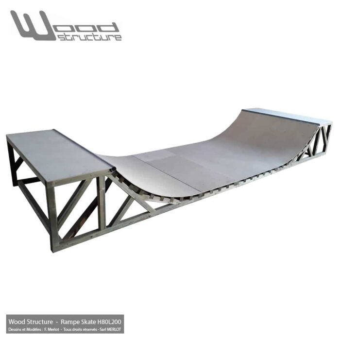 Rampe Skate Kit - Rampe de Skate en kit pré-fabriquée - Mini Rampe - Ramp Skate pour Roller trottinette et bmx - Wood Structure fabricant de Skatepark depuis 1998