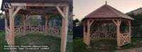 Kiosque de jardin - Kiosque bois 6 Pans en Douglas - Wood Structure Charpente bois - Kiosque - Pergola - Tonnelle - Aménagement Bois Sur-Mesure - Fabriqué par Sarl Merlot à Richelieu (37) Région Centre Val de Loire - France