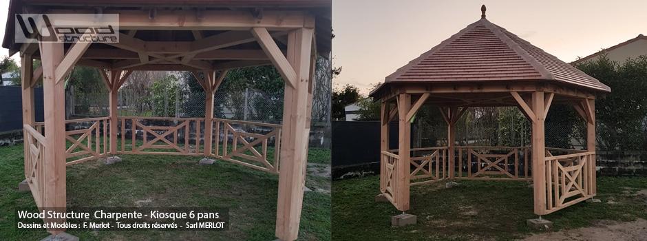Kiosque Bois 6 Pans Douglas - Wood Structure