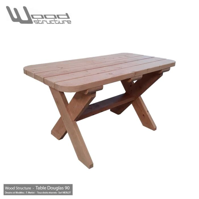 Table bois en sapin Douglas - Table Douglas 90 - Salon de Jardin - Mobilier bois - Fabriquée en France par la Sarl Merlot & Wood Structure - Richelieu (37) Centre Val de Loire - France