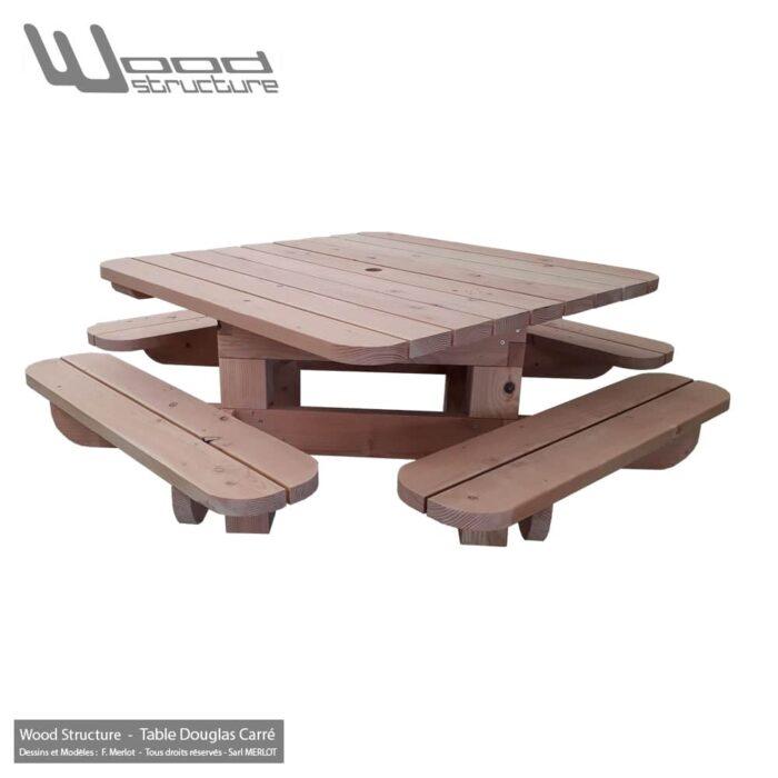 Table pique-nique Bois TCD200 Carré Douglas - Table Picnic en Sapin Douglas - Fabriquée en France par la Sarl Merlot & Wood Structure - Mobilier Bois - Fauteuil - Banc - Salon de Jardin