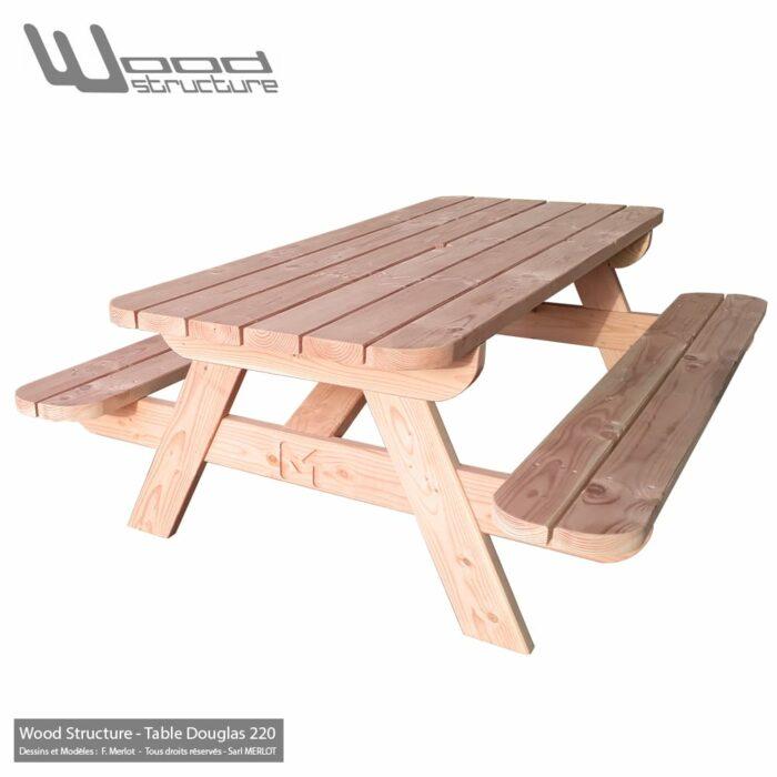 Table pique-nique Bois TLD220 - Table Picnic en Sapin Douglas - Fabriquée en France par la Sarl Merlot & Wood Structure - Fauteuil - Banc - Salon de Jardin