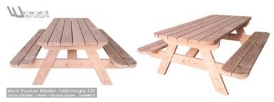 Table Pique-Nique Bois - Sapin Douglas 220 - Wood-Structure - Mobilier de jardin - Table de pique-nique - Caillebotis - Sapin du Nord - Douglas et Autoclave - Fabriqué en France à Richelieu (37)