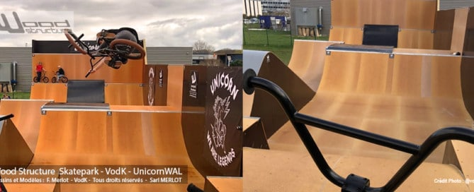 Design, fabrication et installation d'un skatepark privé sur-mesure à Angers (49) - Pour VodK & UnicornWAL - Rampe Skate fabriquée Par Wood Structure et la Sarl MERLOT Richelieu (37) - Concepteur et fabricant de Skatepark depuis 1990