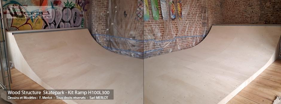 Kit Mini Rampe Skate H100L300 - Mini Rampe skate, roller, bmx, trottinette, prêt à monter - Wood Structure Skatepark