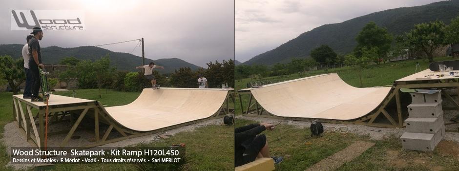 Kit Mini Rampe Skate H120L450 Wood Structure Skatepark. Rampe Skateboard, Roller, Trottinette, et Bmx. Rampe pour particuliers, livrée en kit prêt à monter, Assemblage rapide grâce au pack de montage