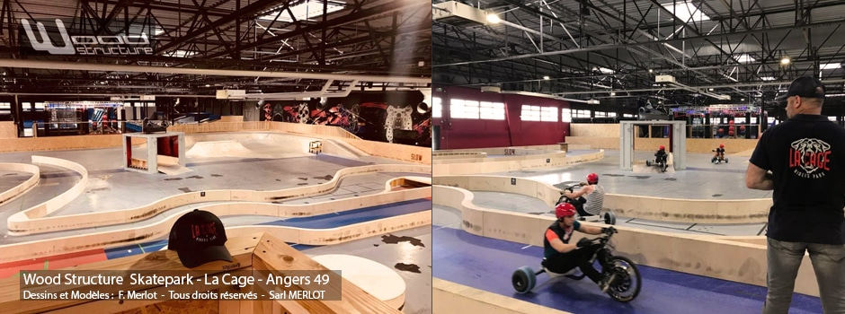 Skatepark Indoor Drift Trike Kart Tricycle - Aménagement Bois - LA CAGE - Angers - 49 -Wood Structure Skatepark