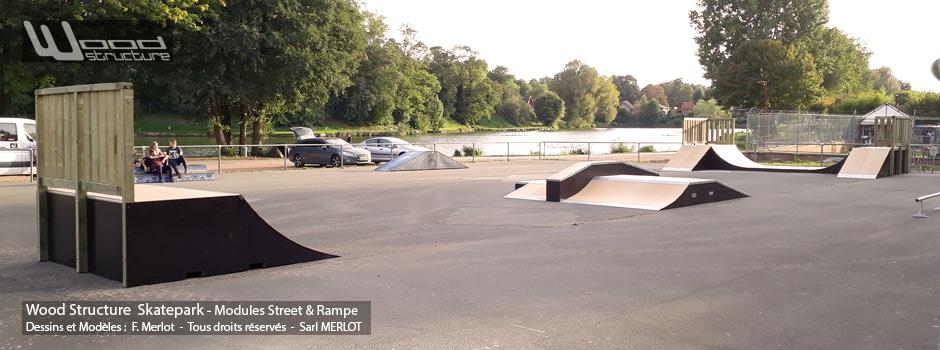 Skatepark de Calonnes-Ricouart - 62 - Pas-de-Calais - Hauts-de-France - Modules et Rampe Skate fabriquée par Wood Structure et la Sarl MERLOT Richelieu (37) - Concepteur et fabricant de Skatepark depuis 1990
