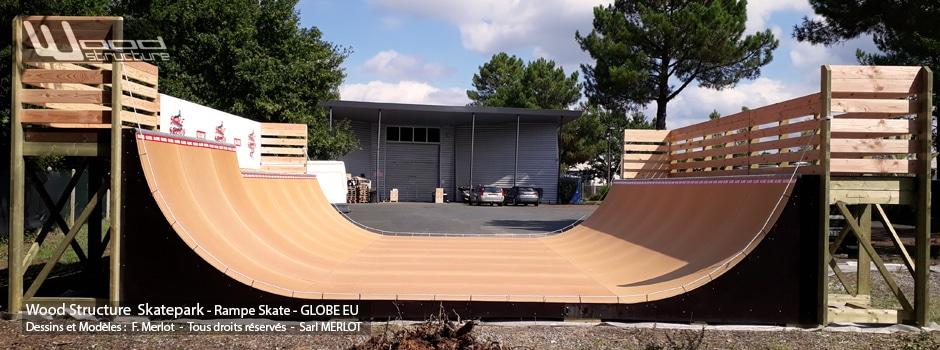 Rampe Skate Privée GLOBE EU H160L976 - Seignosse (40) - Landes - Nouvelle Aquitaine - Rampe Skate fabriquée par Wood Structure et la Sarl MERLOT Richelieu (37) - Concepteur et fabricant de Skatepark depuis 1990
