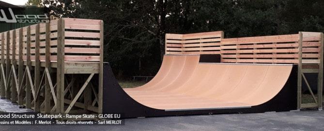 Mini Rampe Skate au Skatepark des Arcs 1800 Bourg-Saint-Maurice - (73) - Savoie - Auvergne-Rhône-Alpes - Rampe Skate fabriquée par Wood Structure et la Sarl MERLOT Richelieu (37) - Concepteur et fabricant de Skatepark depuis 1990