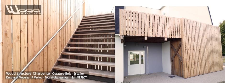 Charpente Ossature Bois, Appentis, Préau, Bardage et Escalier - Wood Structure - Sarl MERLOT RICHELIEU - 37 - Indre et Loire - Touraine - Région Centre Val de Loire.