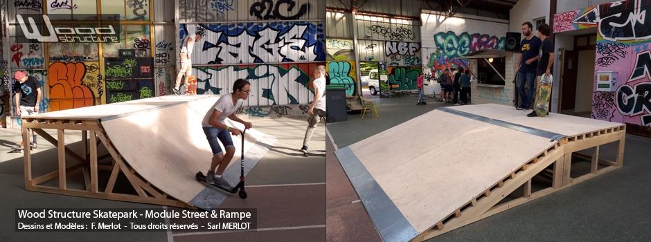 Lanceur Quarter Coube et Plan incliné - Arras Skatepark - Street Wood Structure - Fabricant de Skatepark depuis 1990