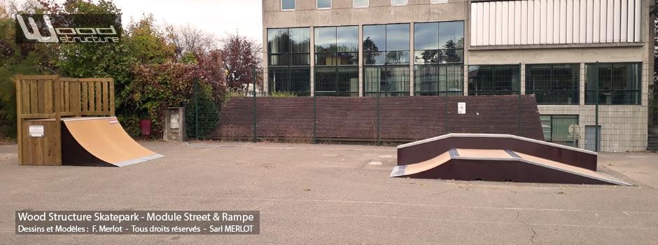 Skatepark de Fontaines-les-Dijon (21)- Côte-d'Or - Bourgogne-Franche-Comté - Modules Street Funbox et Rampe Skate - Fabriqué par Wood Structure et la Sarl MERLOT Richelieu (37) - Concepteur et fabricant de Skatepark depuis 1990