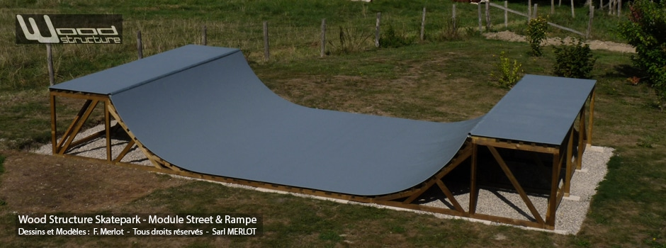 Kit Mini Rampe Skate H120L450 Wood Structure - Fabricant de Skatepark depuis 1990