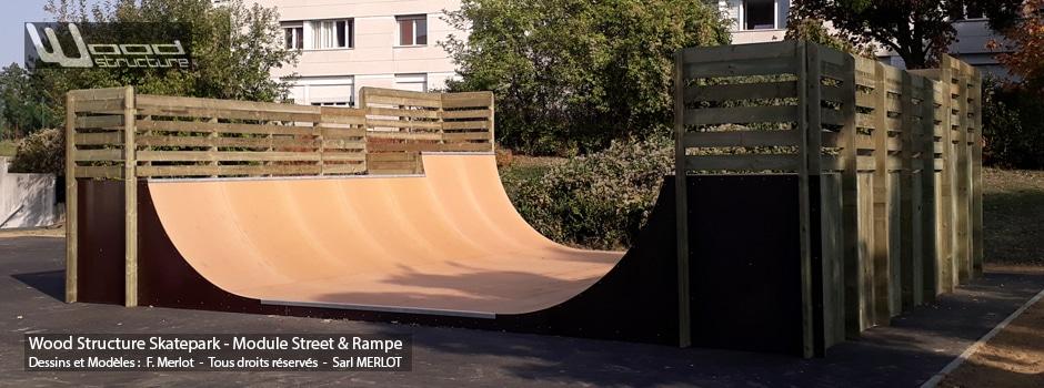 Rampe Skatepark de Kremlin-Bicêtre - Val-de-Marne (94) Ile-de-France - Rampe Skate fabriquée par Wood Structure et la Sarl MERLOT Richelieu (37) - Concepteur et fabricant de Skatepark depuis 1990