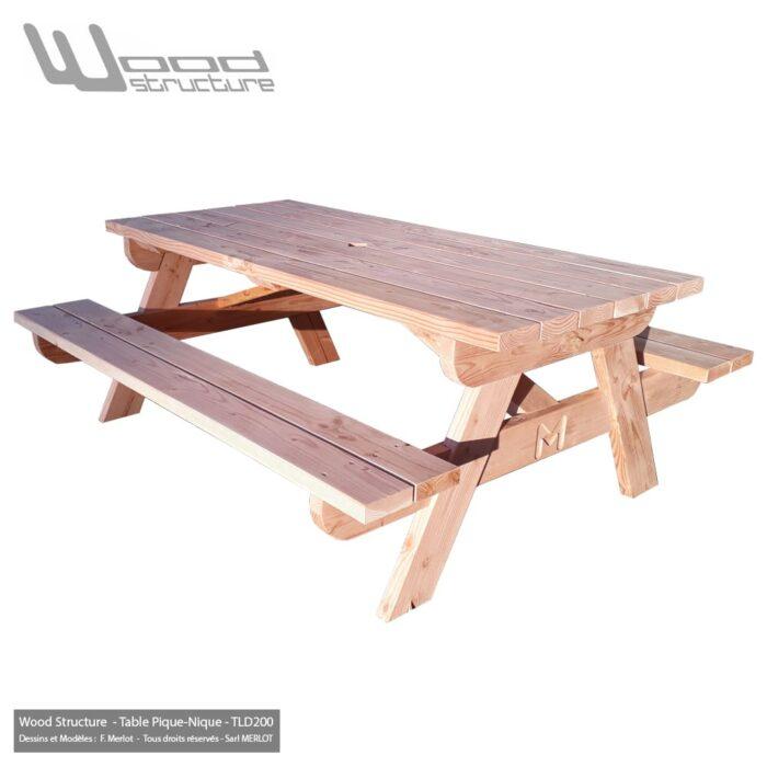 Table pique-nique Bois TLD200 - Table Picnic en Sapin Douglas - Fabriquée en France par la Sarl Merlot & Wood Structure - Fauteuil - Banc - Salon de Jardin