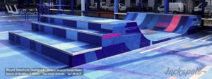 Curb Rampe Skate H100L450 - Playground Adidas ZZ10 à Saint -Denis (93) - Wood Structure - Fabricant de Skatepark