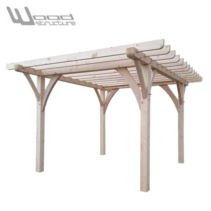 Pergola M 3 x 3 - Charpente bois livrée en kit prêt à monter - Wood Structure - Pergola Carport livré en kit avec fourniture et plan de montage - Fabriqué en France à Richelieu - Indre-et-Loire - Touraine - Région Centre Val de Loire