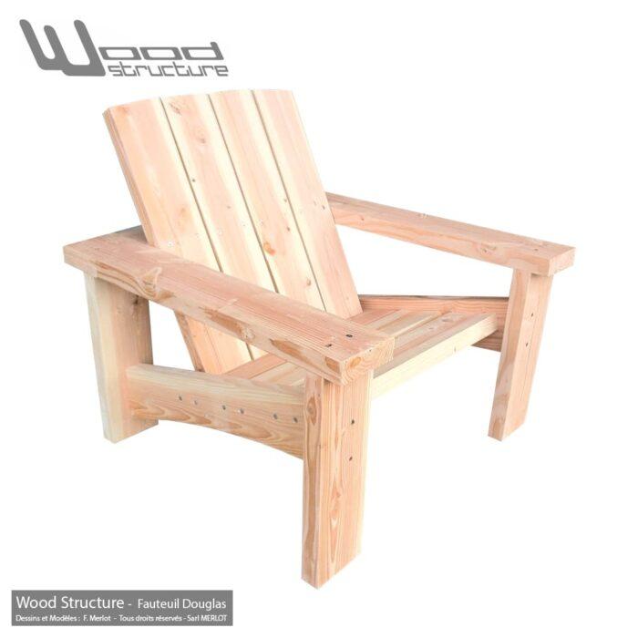 Fauteuil Douglas - Design Wood Structure - Fauteuil Banc - Table - Mobilier bois et Salon de Jardin - Fabriqué en France par la Sarl Merlot