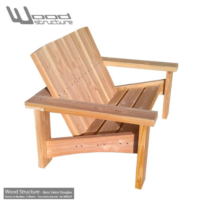 Banc douglas - Design Wood Structure - Fabriquée en France par la Sarl Merlot - Fauteuil Banc - Table - Mobilier bois et Salon de Jardin