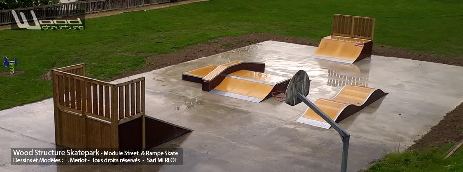 Skatepark de Cuchery (51) Marne - Grand Est - Modules Street Funbox - Double vague et Rampe Skate - Fabriqué par Wood Structure et la Sarl MERLOT Richelieu (37) - Concepteur et fabricant de Skatepark depuis 1990