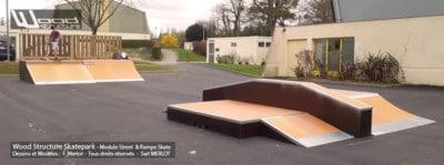 Skatepark de Melesse (35)- Bretagne - Ille-et-Vilaine - Modules Street Funbox et Rampe Skate - Fabriqué par Wood Structure et la Sarl MERLOT Richelieu (37) - Concepteur et fabricant de Skatepark depuis 1990