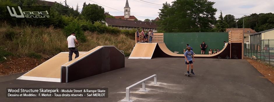 Skatepark de Rully (71) - Saône-et-Loire, Bourgogne-Franche-Comté - Rampe Skate et Modules Street Funbox - Fabriqué par Wood Structure et la Sarl MERLOT Richelieu (37) - Concepteur et fabricant de Skatepark depuis 1990