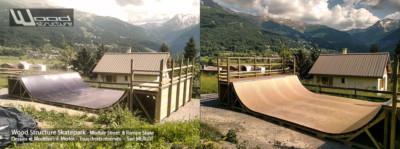 Kit Rampe Skate Pro H120L488 Wood Structure - Fabricant de Skatepark depuis 1990
