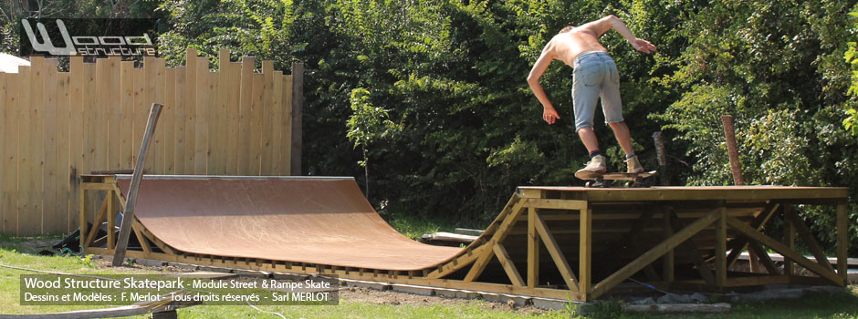 Kit Mini Rampe Skate H80L300 Wood Structure - Fabricant de Skatepark depuis 1990