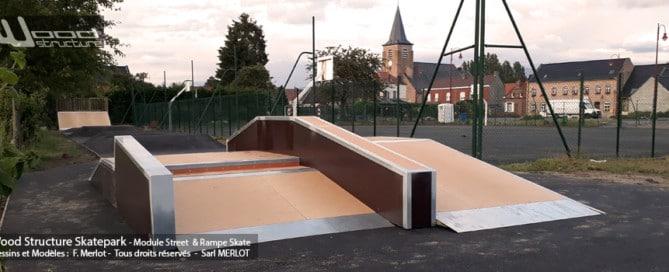 Skatepark de Sameon (59) - Nord - Hauts-de-France - Modules Street Funbox - Double vague et Rampe Skate - Fabriqué par Wood Structure et la Sarl MERLOT Richelieu (37) - Concepteur et fabricant de Skatepark depuis 1990