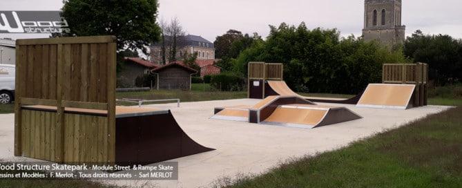 Skatepark de Lit-et-Mixe (40) - Landes - Nouvelle-Aquitaine - Rampe et Modules Street Funbox Skate - Fabriqué par Wood Structure et la Sarl MERLOT Richelieu (37) - Concepteur et fabricant de Skatepark depuis 1990